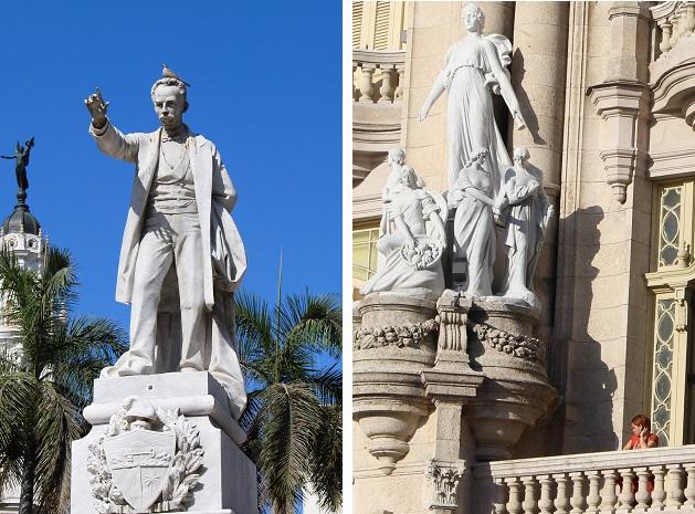 Estátua de José Martí, herói da luta pela independência de Cuba, e detalhes do Gran Teatro.