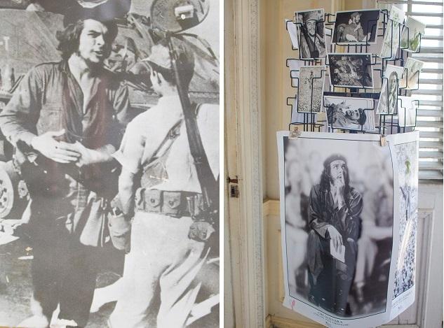 Che Guevara em batalha e nos postais de Havana.