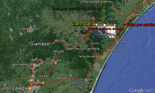 Como chegar a Cambará do Sul - mapa