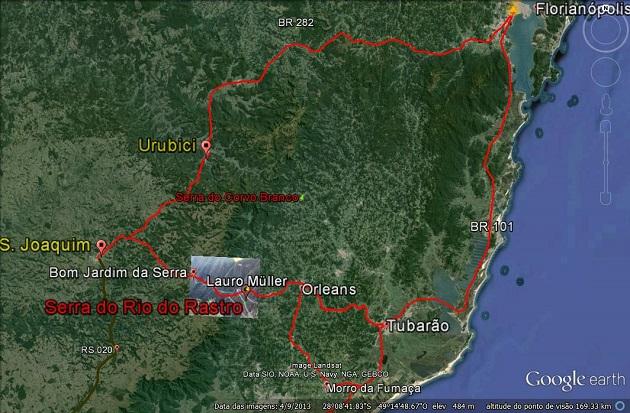 Mapa ilustrativo da Serra do Rio do Rastro.