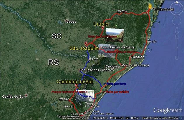 Mapa Aparados da Serra