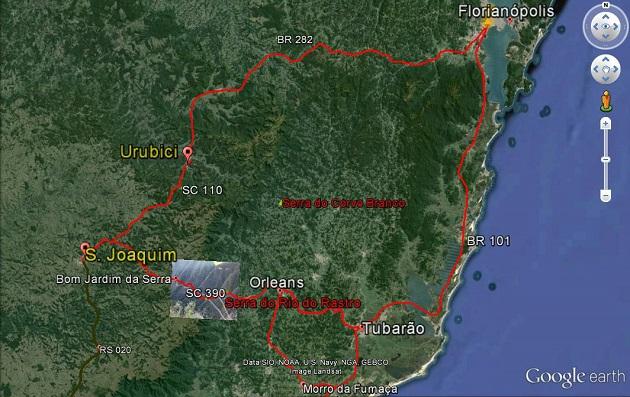 Mapa Roteiro Serra Catarinense