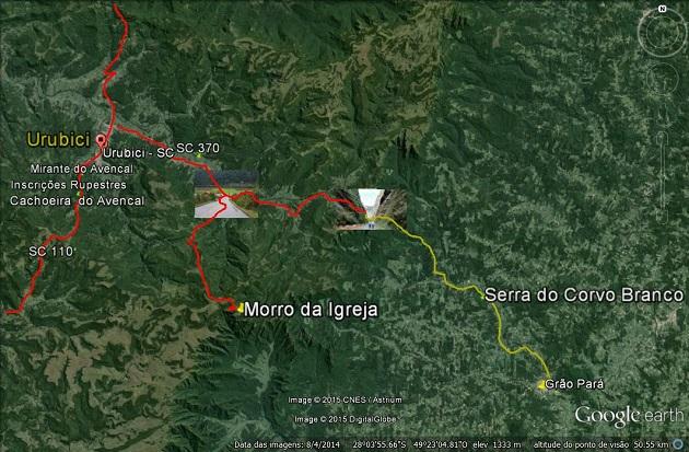 Pontos Turísticos de Urubici - Mapa