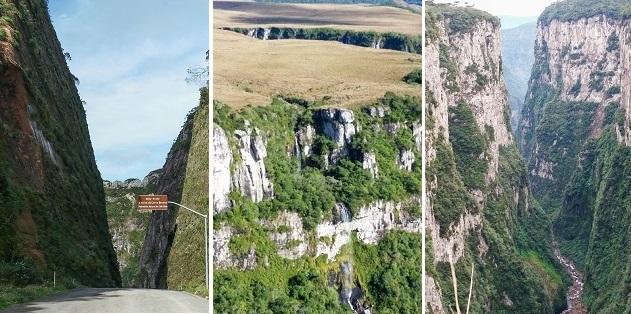 Serra do Corvo Branco (SC), Cânion Fortaleza e Cânion Itaimbezinho (RS).