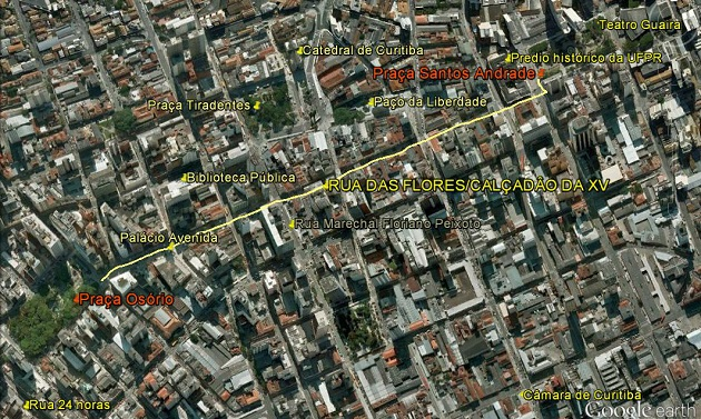 Mapa Calçadão de Curitiba