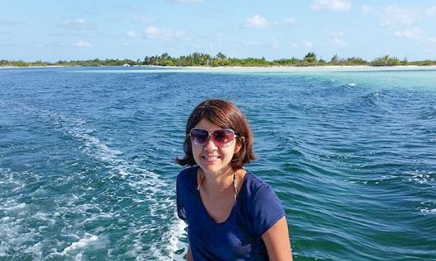 No barco em Cayo Largo.