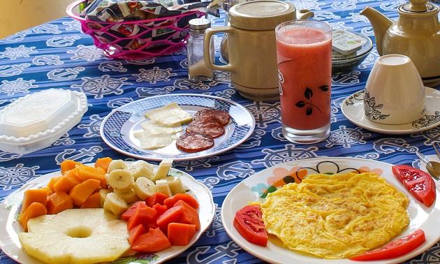Café da manhã na casa onde fiquei hospedada.