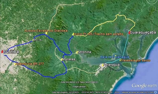 Como chegar a Guaraqueçaba