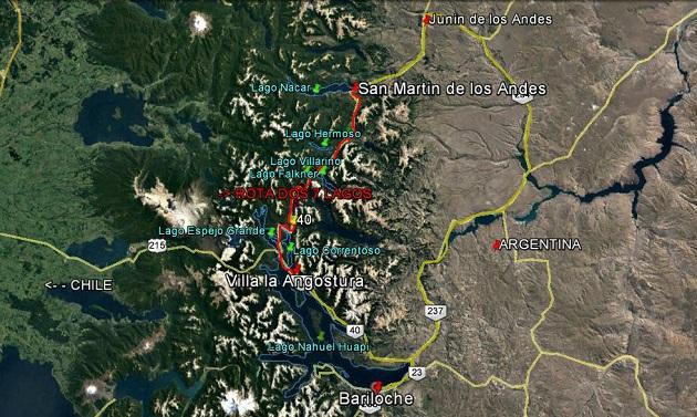 Mapa da Rota dos 7 lagos