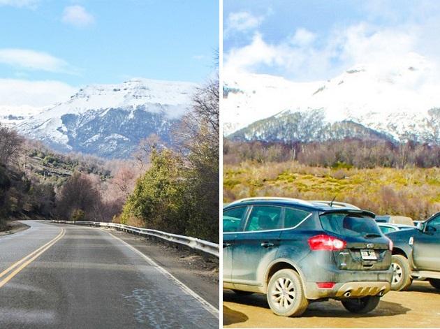 Acesso e estacionamento aos pés da montanha.