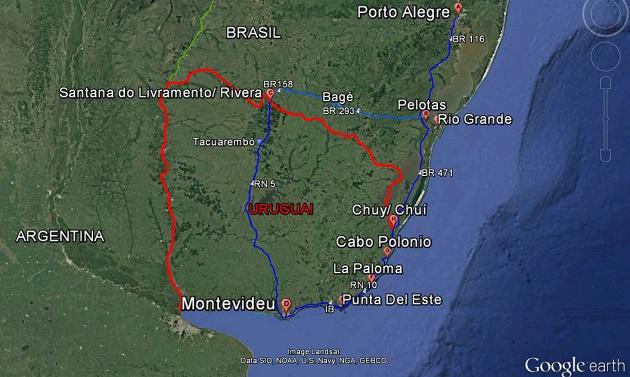 Nosso roteiro pelo Rio Grande do Sul e Uruguai.